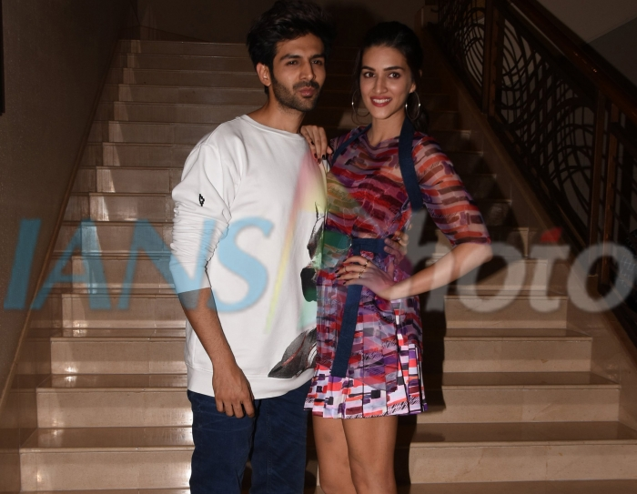 Actors Kriti Sanon and Kartik Aryan during the promotion of upcoming film