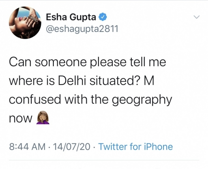 Esha Gupta is having trouble with geography
