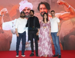 Mumbai: Actors Kichcha Sudeep, Suniel Shetty, Aakanksha Singh and Sushant Singh at a press conference to promote their upcoming film
