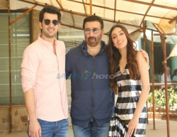 Mumbai: Director Sunny Deol with actors Karan Deol and Sahher Bambba during the promotions of his upcoming film