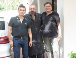 Mumbai: Producer Anand Pandit with actor Sanjay Dutt seen outside his house, in Mumbai on June 16, 2019. (Photo: IANS)
