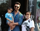 Actor Aayush Sharma along with his wife Arpita Khan Sharma and son Ahil Sharma seen in Mumbai's Bandra, on March 24, 2019. (Photo: IANS)