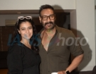 Actors Ajay Devgan and Kajol at the screening of upcoming film Total Dhamaal in Mumbai on Feb 21, 2019. (Photo: IANS)