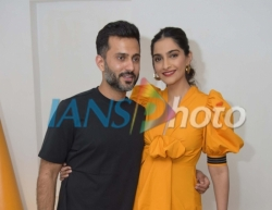 Actress Sonam Kapoor with her businessman husband Anand S. Ahuja at a store launch in New Delhi, on April 18, 2019. (Photo: IANS)