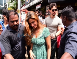 Mumbai: Actors Tiger Shroff and Disha Patani seen at Bandra, in Mumbai on June 16, 2019. (Photo: IANS)