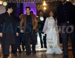 Actors Salman Khan and Sonakshi Sinha arrive at their friend's wedding reception in Mumbai, on Feb 16, 2019. (Photo: IANS)