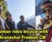 Salman rides bicycle with Arunachal Pradesh CM Pema Khandu